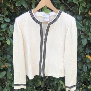 ST. JOHN COLLECTION Brown Cream Jacket Sweater 10